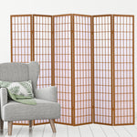 6 Panel Free Standing Foldable  Room Divider Privacy Screen Wood Frame
