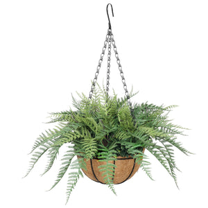Potted Fern Hanging Basket (Fresh Green) UV Resistant 55cm