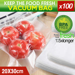 100x Commercial Grade Vacuum Sealer Food Sealing Storage Bags Saver 20x30cm