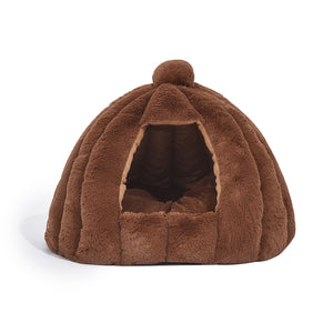 Pet Bed Comfy Kennel Cave Cat Dog Beds Bedding Castle Igloo Nest Brown M