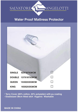 Single Mattress Protector - Waterproof Terry w Skirt