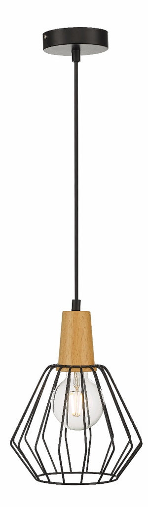 Wood Pendant Light Bar Black Lamp Kitchen Modern Ceiling Lighting