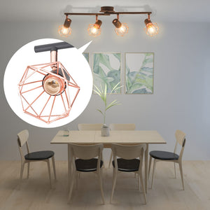 Ceiling Lamp with 4 Spotlights E14 Black and Copper