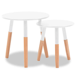 Side Table Set 2 Pieces Solid Pinewood White
