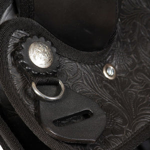 "Western Saddle, Headstall&Breast Collar Real Leather 13"" Black"