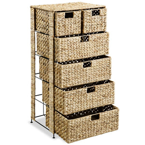 Storage Unit with 6 Baskets 47x37x100 cm Water Hyacinth