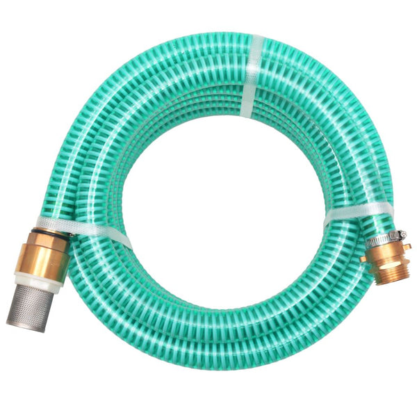 Suction Hose with Brass Connectors 7 m 25 mm Green
