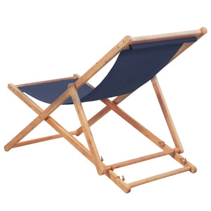 Folding Beach Chair Fabric and Wooden Frame Blue