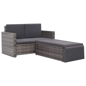 2 Piece Garden Lounge Set with Cushions Poly Rattan Grey