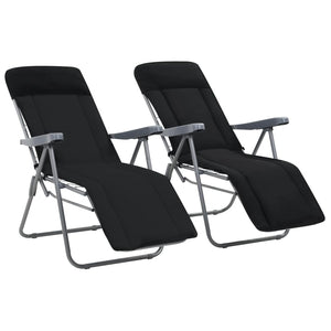 Folding Garden Chairs with Cushions 2 pcs Black