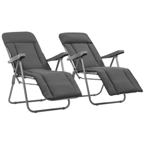 Folding Garden Chairs with Cushions 2 pcs Grey