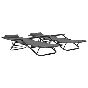 Folding Sun Loungers 2 pcs with Footrests Steel Grey