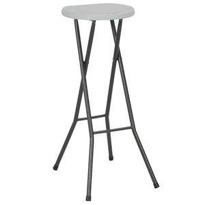 Folding Bar Stools 2 pcs HDPE and Steel White