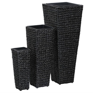 Garden Planters 3 pcs Water Hyacinth Black