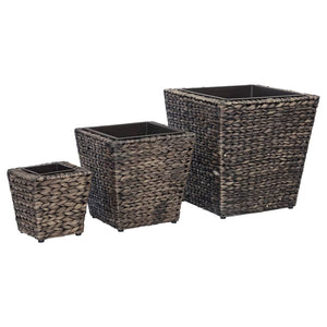 Garden Planters 3 pcs Water Hyacinth Brown