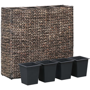 Garden Planter with 4 Pots Water Hyacinth Brown