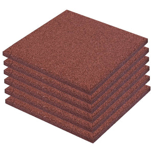 Fall Protection Tiles 6 pcs Rubber 50x50x3 cm Red