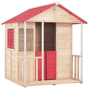 Kids Play House Fir Wood Red