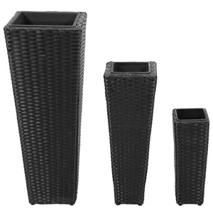 3 Rattan Flower Pots Black