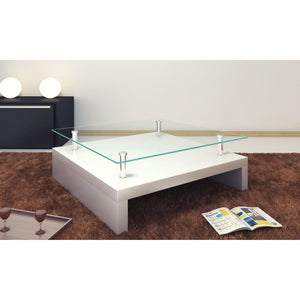 Coffee Table with Glass Top White