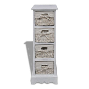 Wooden Storage Rack 4 Weaving Baskets White