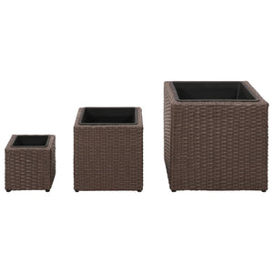 Garden Square Planter Set 3 Pieces Rattan Brown