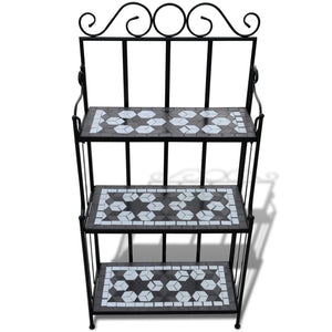 Plant Stand Plant Display Black White Mosaic Pattern