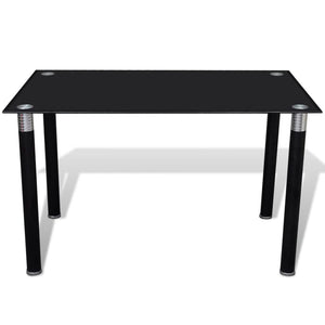 Dining Table with Glass Top Black