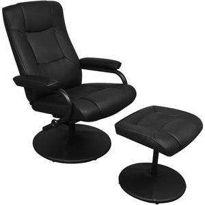 TV Armchair with Footstool Black Faux Leather