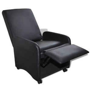 Folding Armchair Black Faux Leather