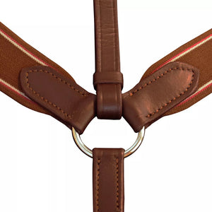 Leather Elastic Breastplate Martingale Adjustable Brown Full