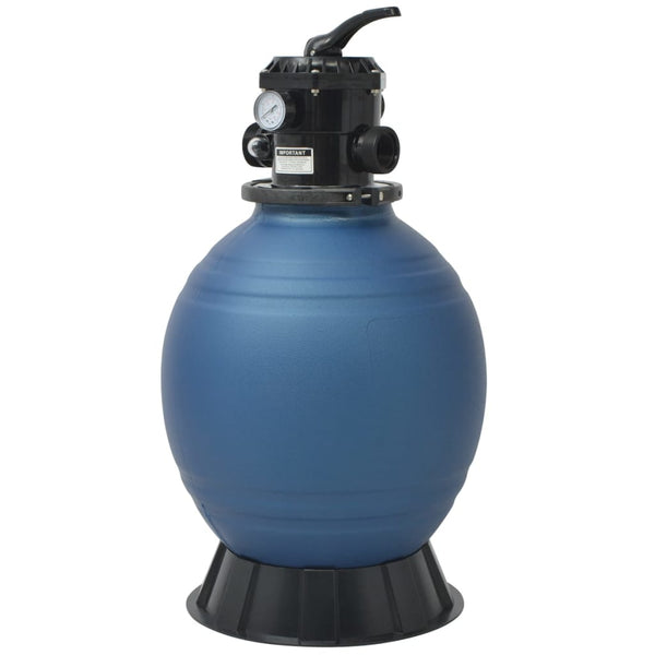 Pool Sand Filter with 6 Position Valve Blue 460 mm