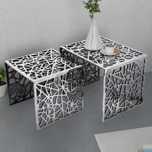 Two Piece Side Tables Square Aluminium Silver