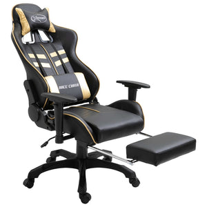 Gaming Chair with Footrest Gold