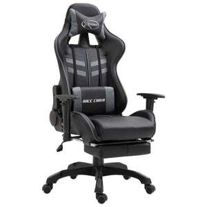 Gaming Chair with Footrest Grey