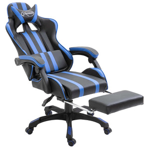 Leather Gaming Chair with Footrest Blue