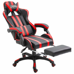 Leather Gaming Chair with Footrest Red