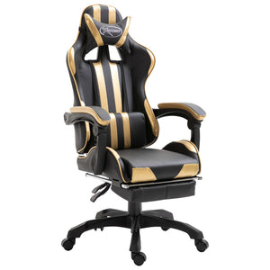 Leather Gaming Chair with Footrest Gold