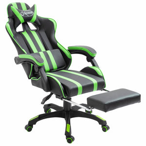 Leather Gaming Chair with Footrest Green