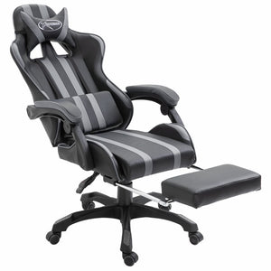 Leather Gaming Chair with Footrest Grey