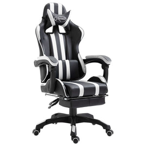 Leather Gaming Chair with Footrest White