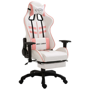 Leather Gaming Chair with Footrest Pink