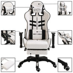 Leather Gaming Chair with Footrest Black