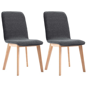 Dining Chairs 2 pcs Grey Fabric