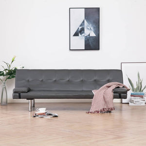 Sofa Bed with Two Pillows Grey Faux Leather