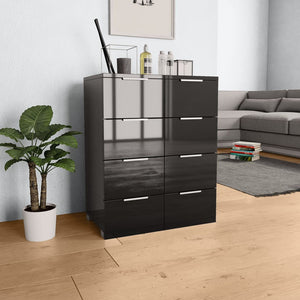 Sideboard High Gloss Black 60x35x76 cm Chipboard