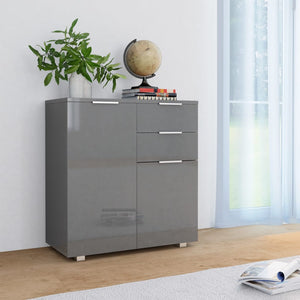 Sideboard High Gloss Grey 71x35x76 cm Chipboard