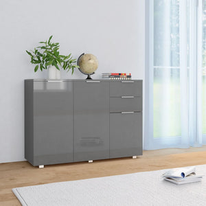 Sideboard High Gloss Grey 107x35x76 cm