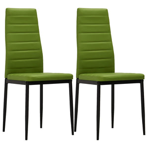 Dining Chairs 2 pcs Lime Green Faux Leather