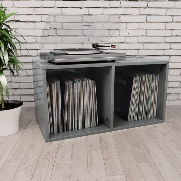 Vinyl Storage Box High Gloss Grey 71x34x36 cm Chipboard